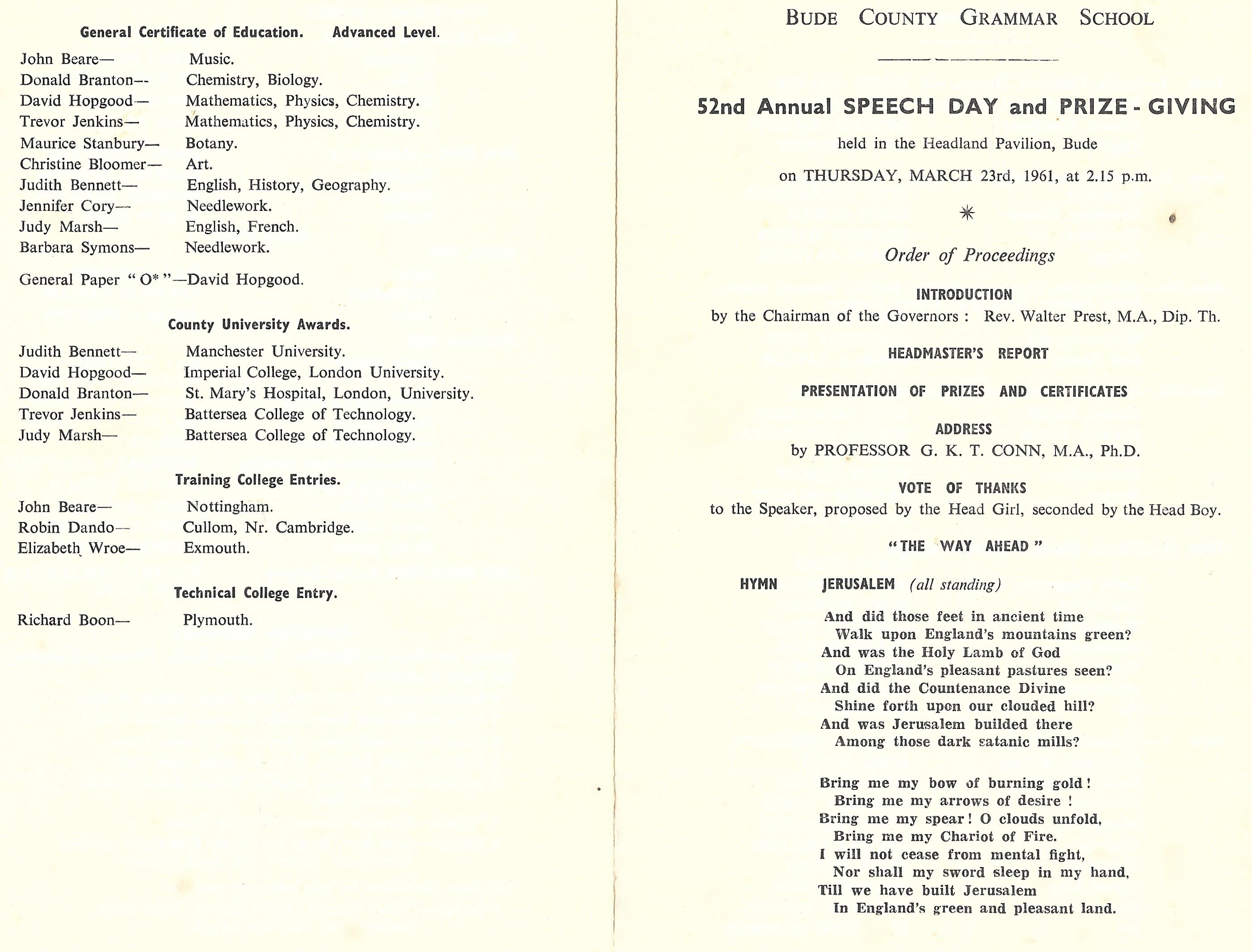 1961 School Speech Day Programme Cover