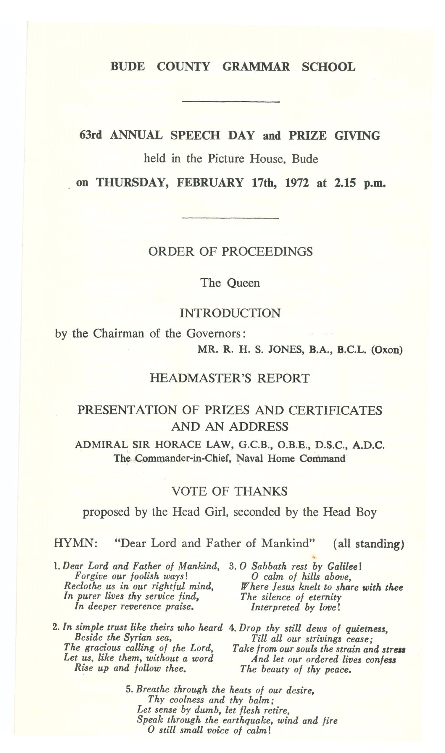 1972 Prize Day Programme page 1