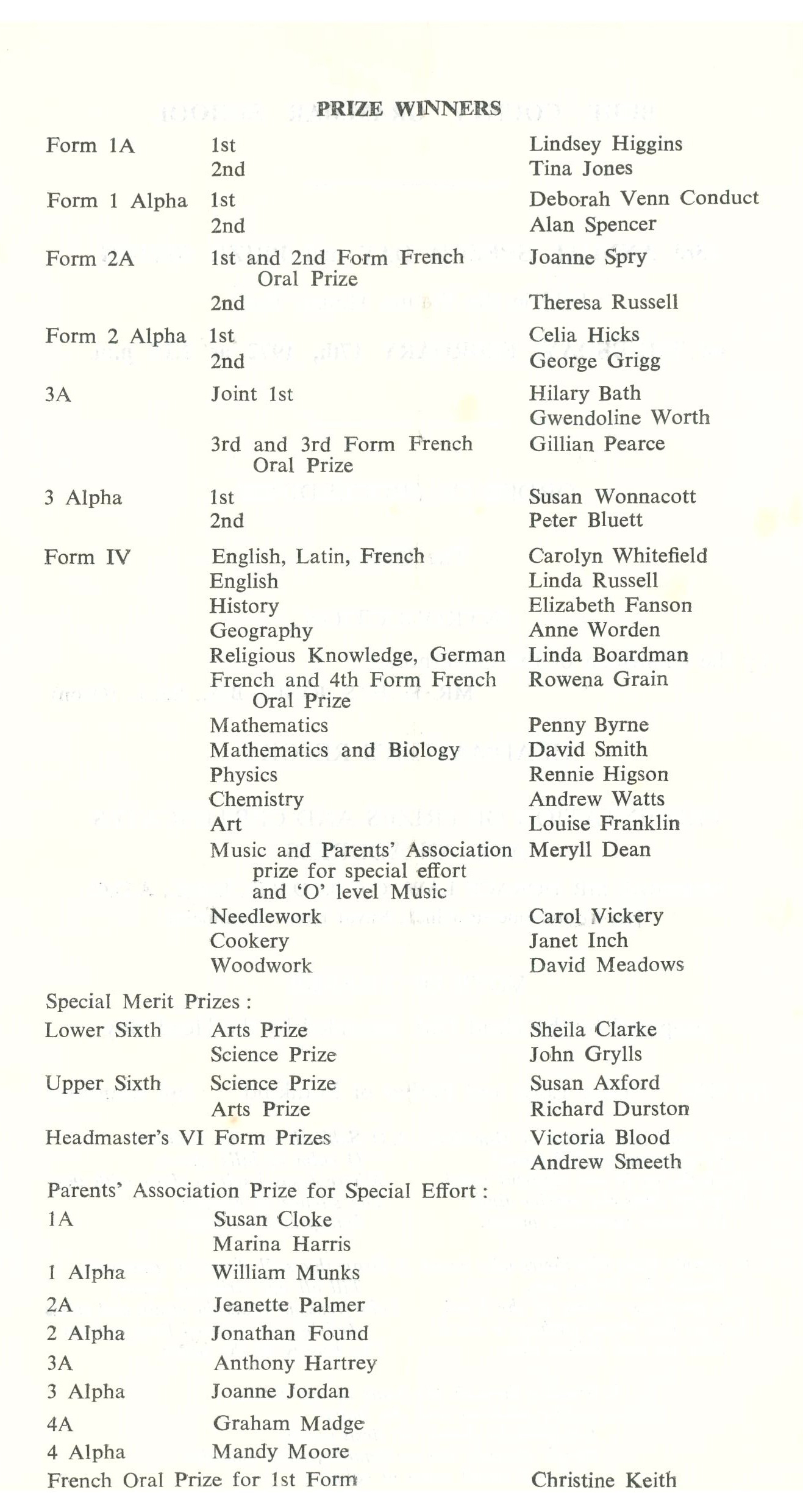 1972 Prize Day Programme page 2