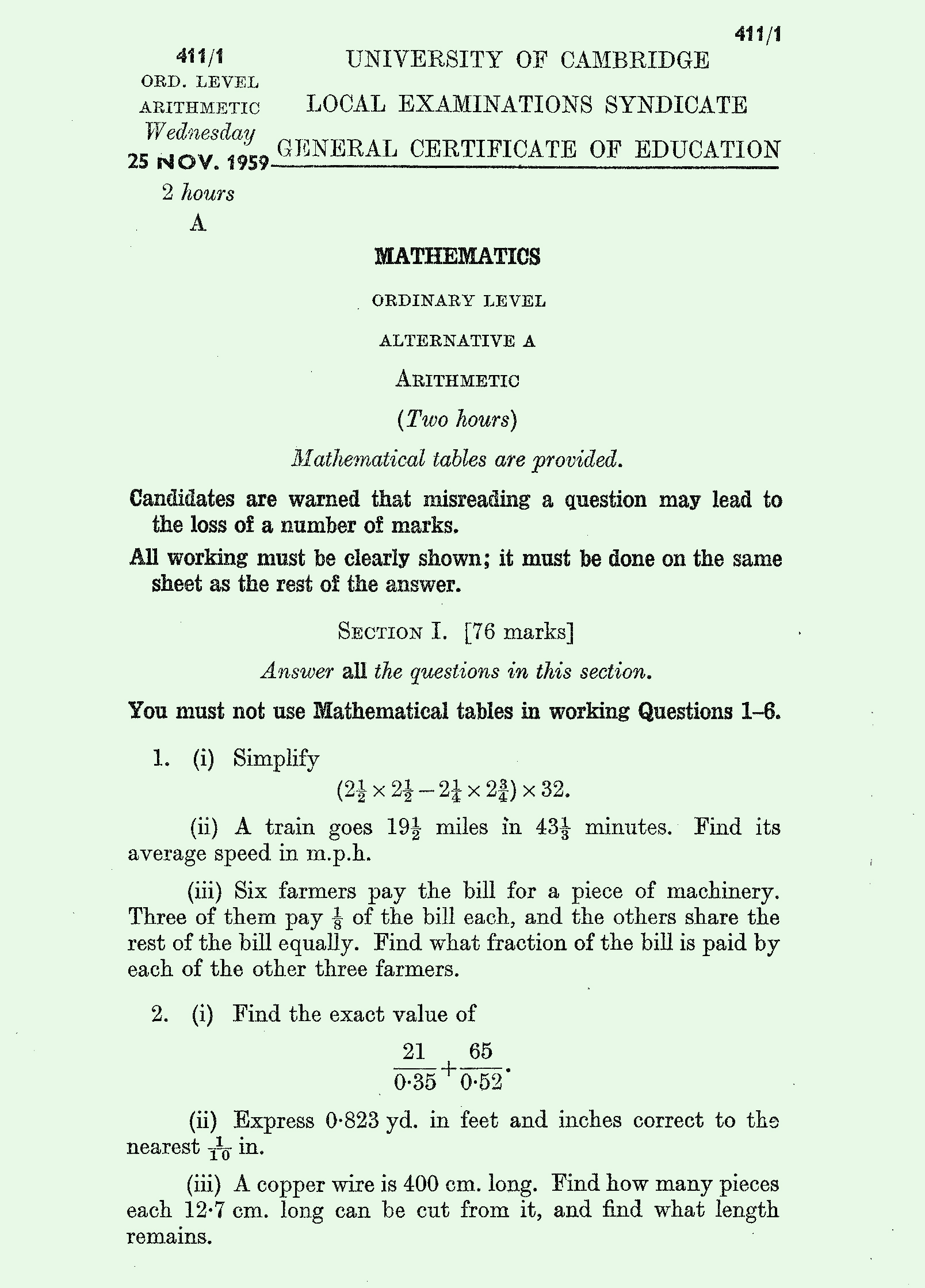 1959 Arithmetic exam page 1