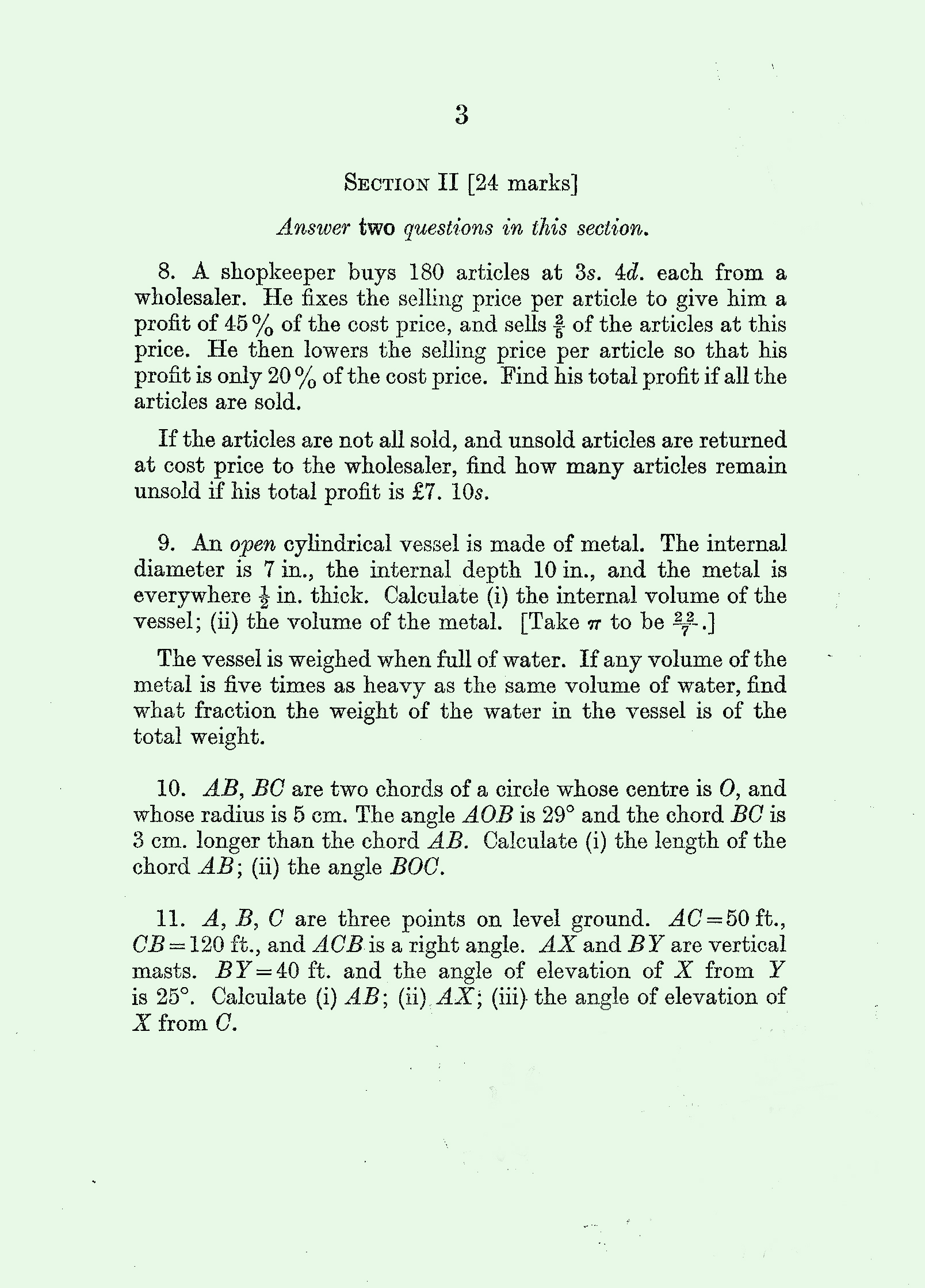 1959 Arithmetic exam page 3