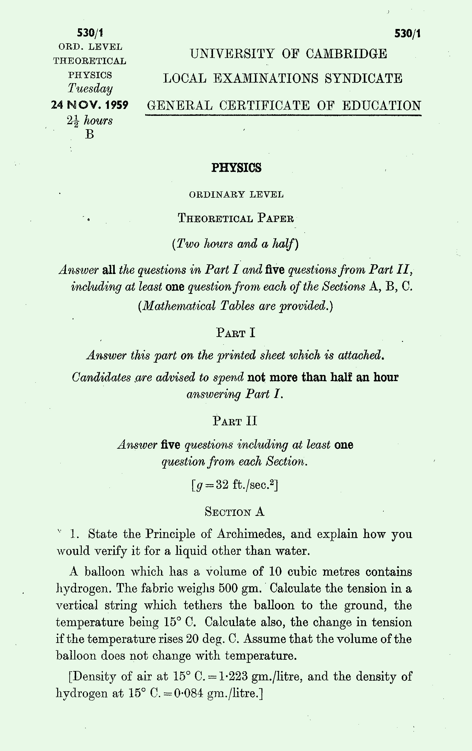1959 Physics exam page 1