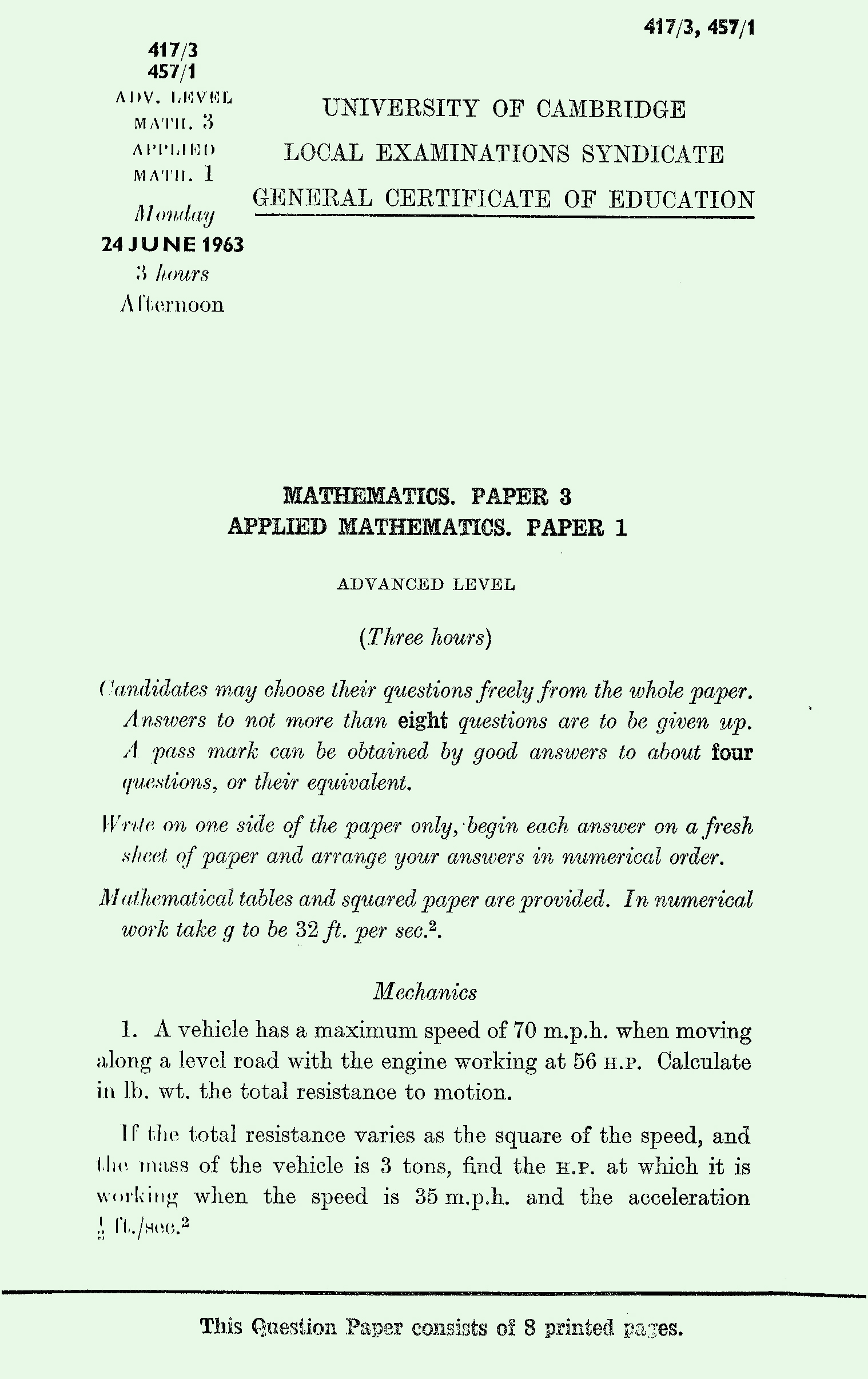 1963 Applied Mathematics A Level & S Level Paper I page 1