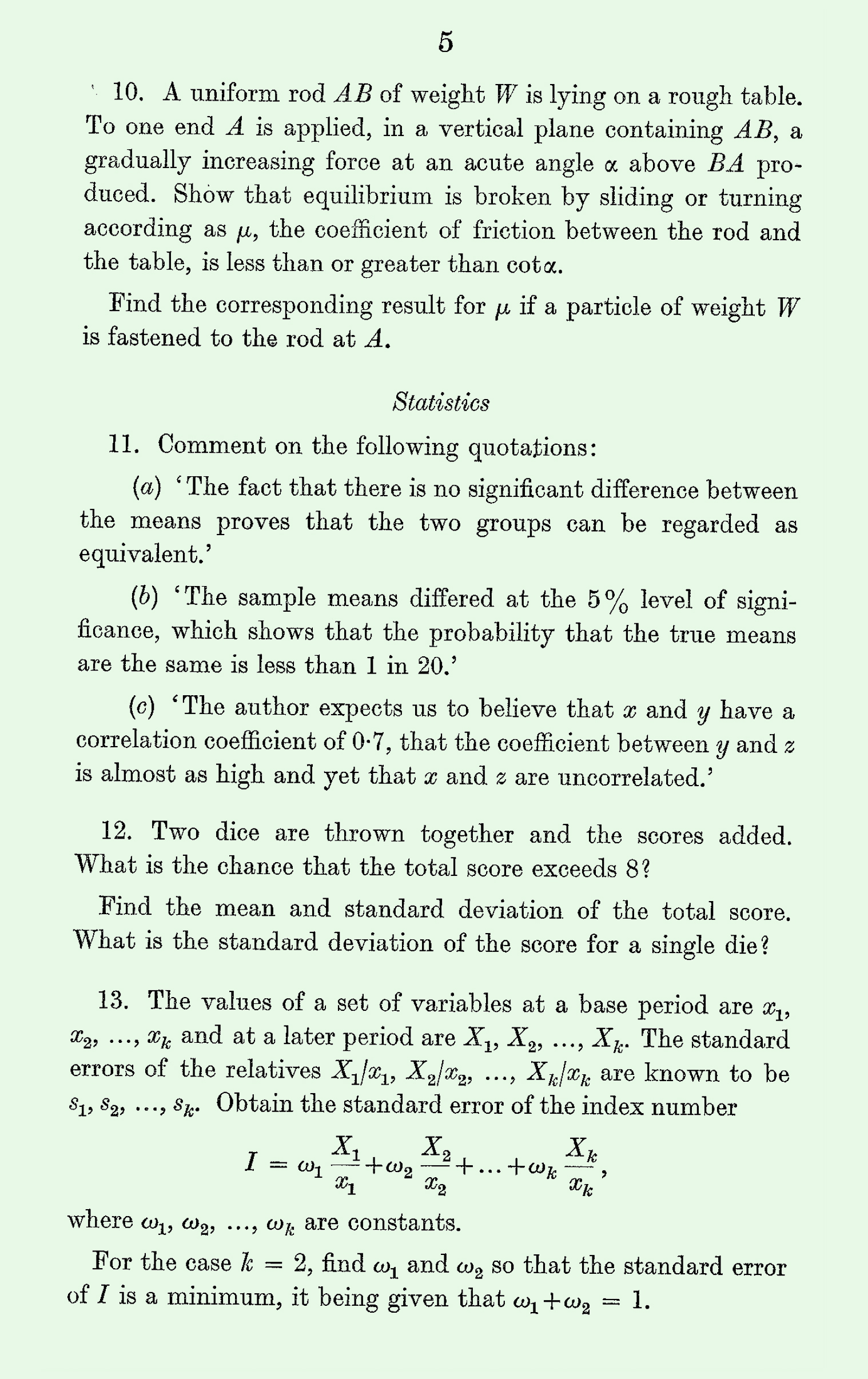 1963 Applied Mathematics A Level & S Level Paper I page 5