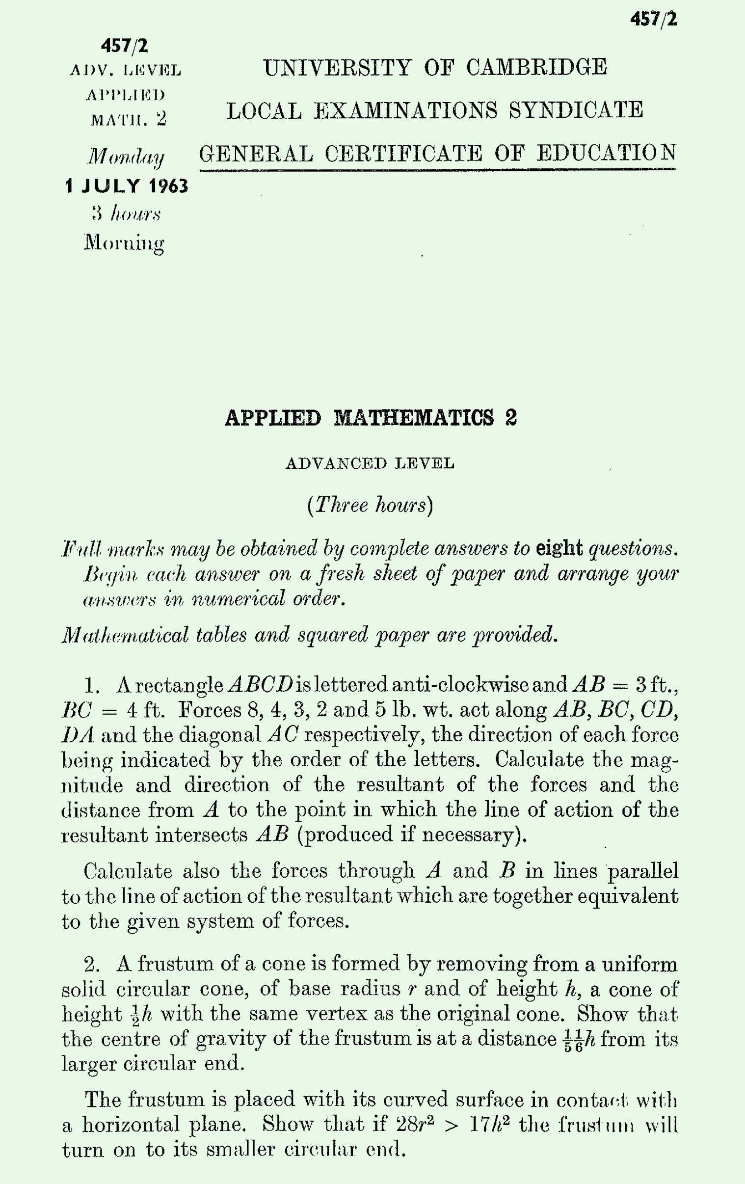 1963 Applied Mathematics A Level & S Level Paper II page 1