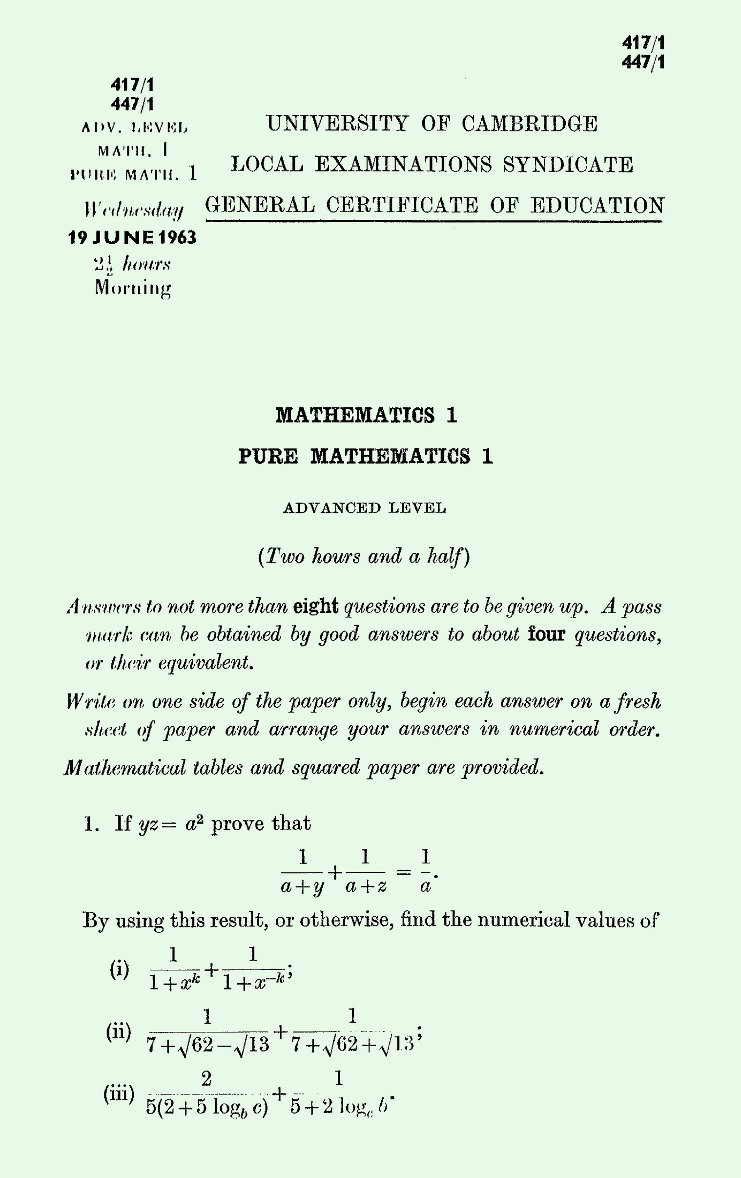 1963 Pure Mathematics A Level & S Level Paper I page 1