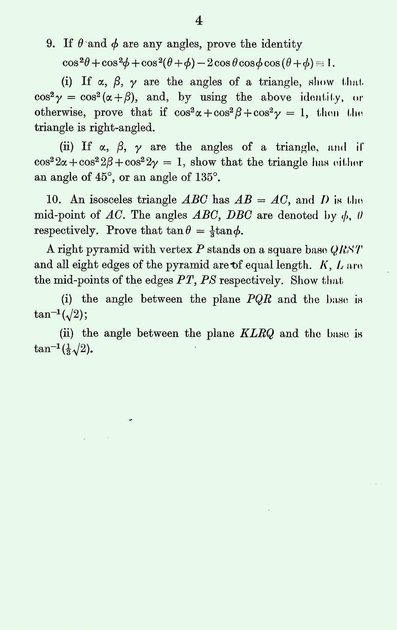 1963 Pure Mathematics A Level & S Level Paper I page 4