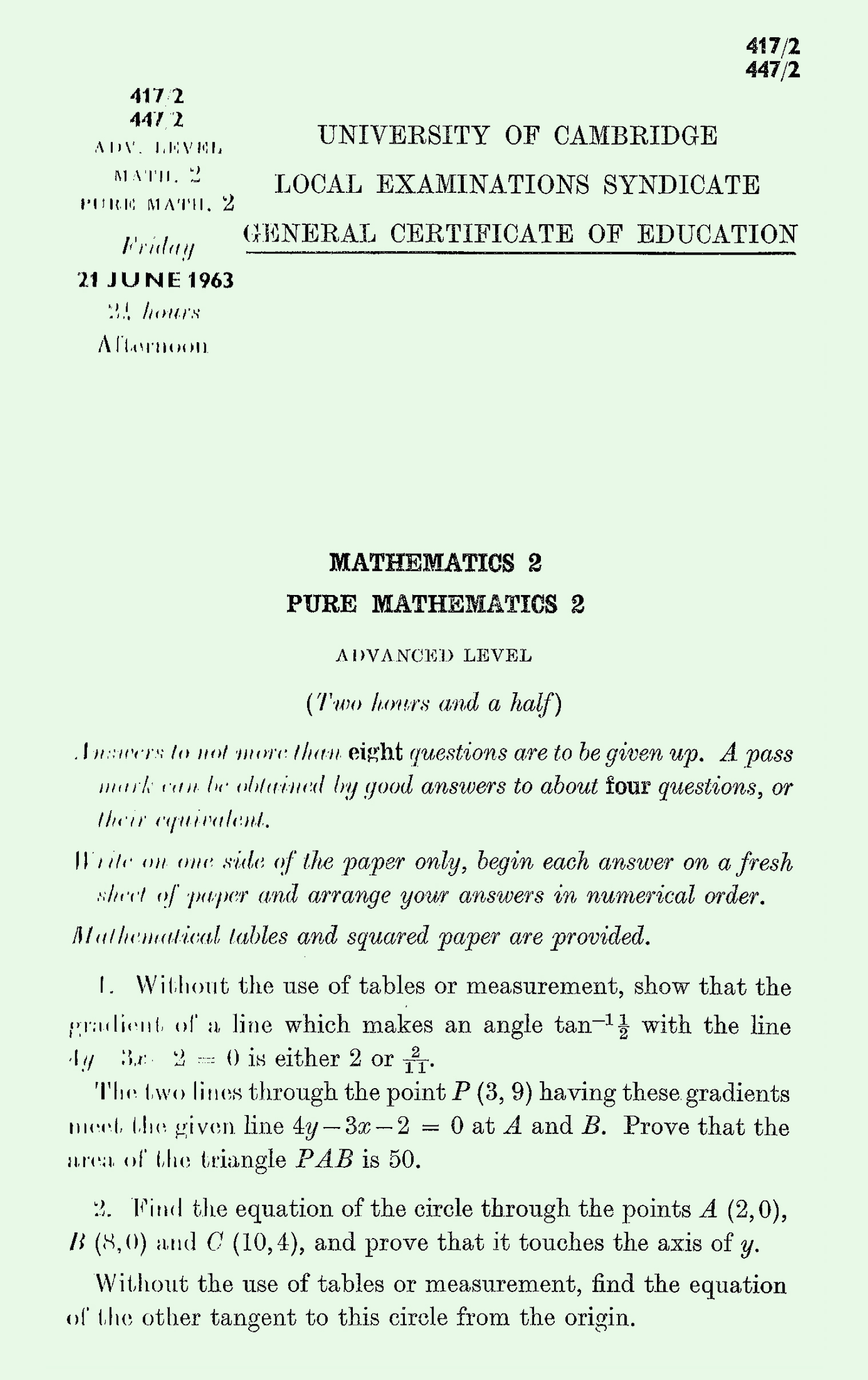 1963 Pure Mathematics A Level & S Level Paper II page 1