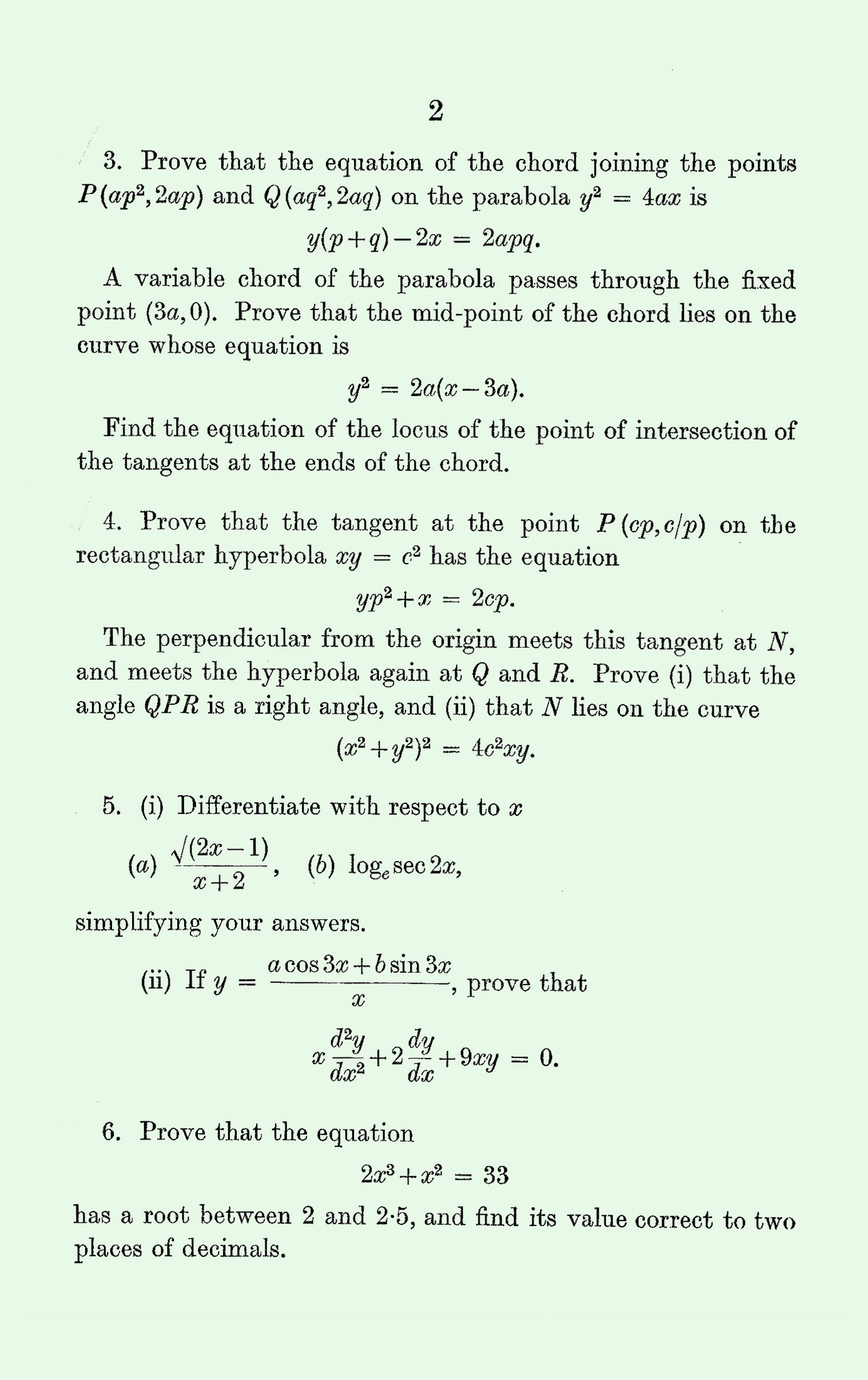 1963 Pure Mathematics A Level & S Level Paper II page 2