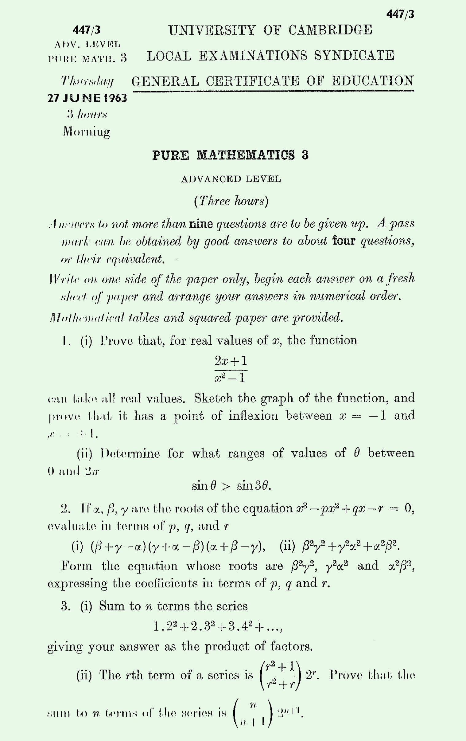 1963 Pure Mathematics A Level & S Level Paper III page 1