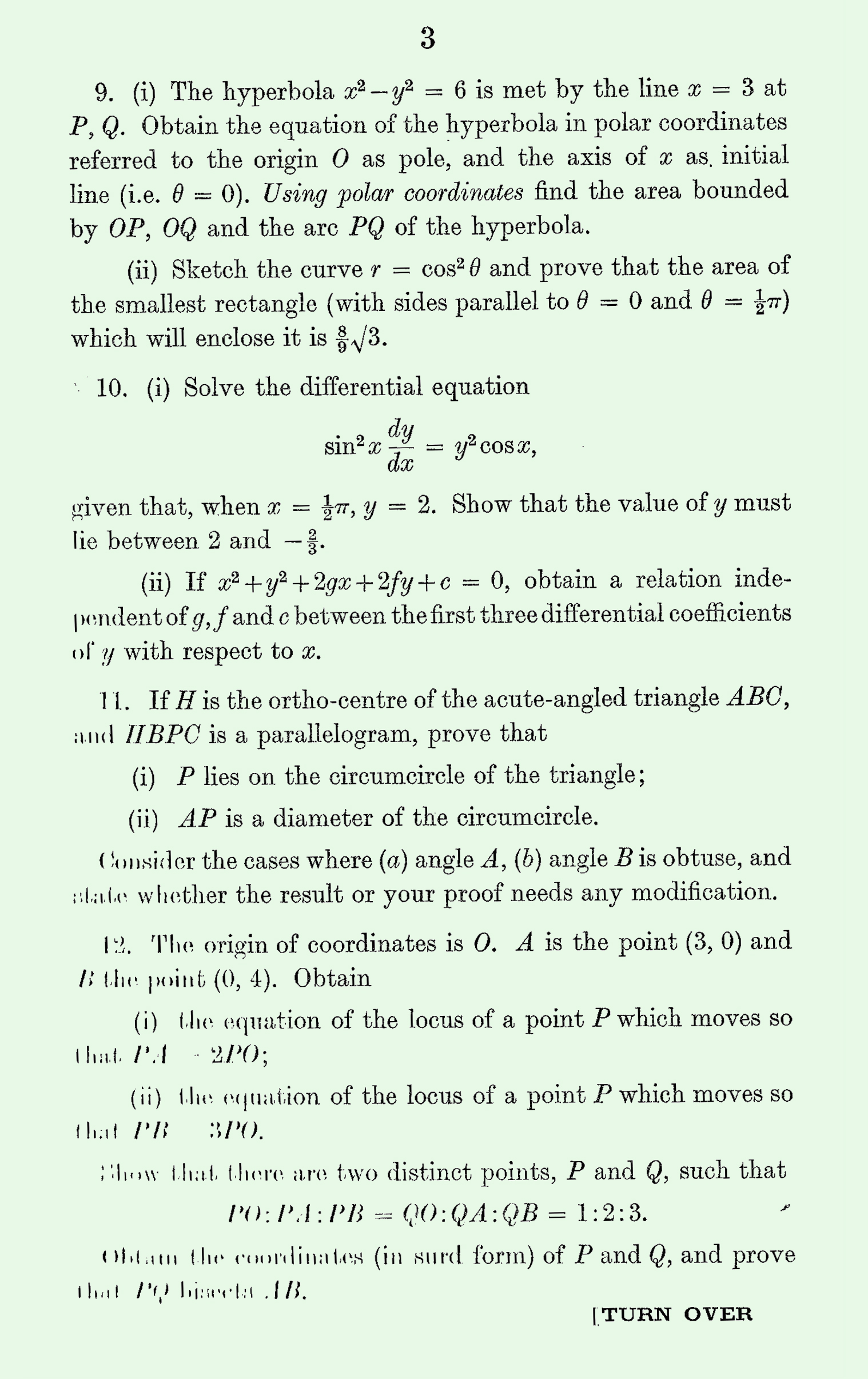 1963 Pure Mathematics A Level & S Level Paper III page 3