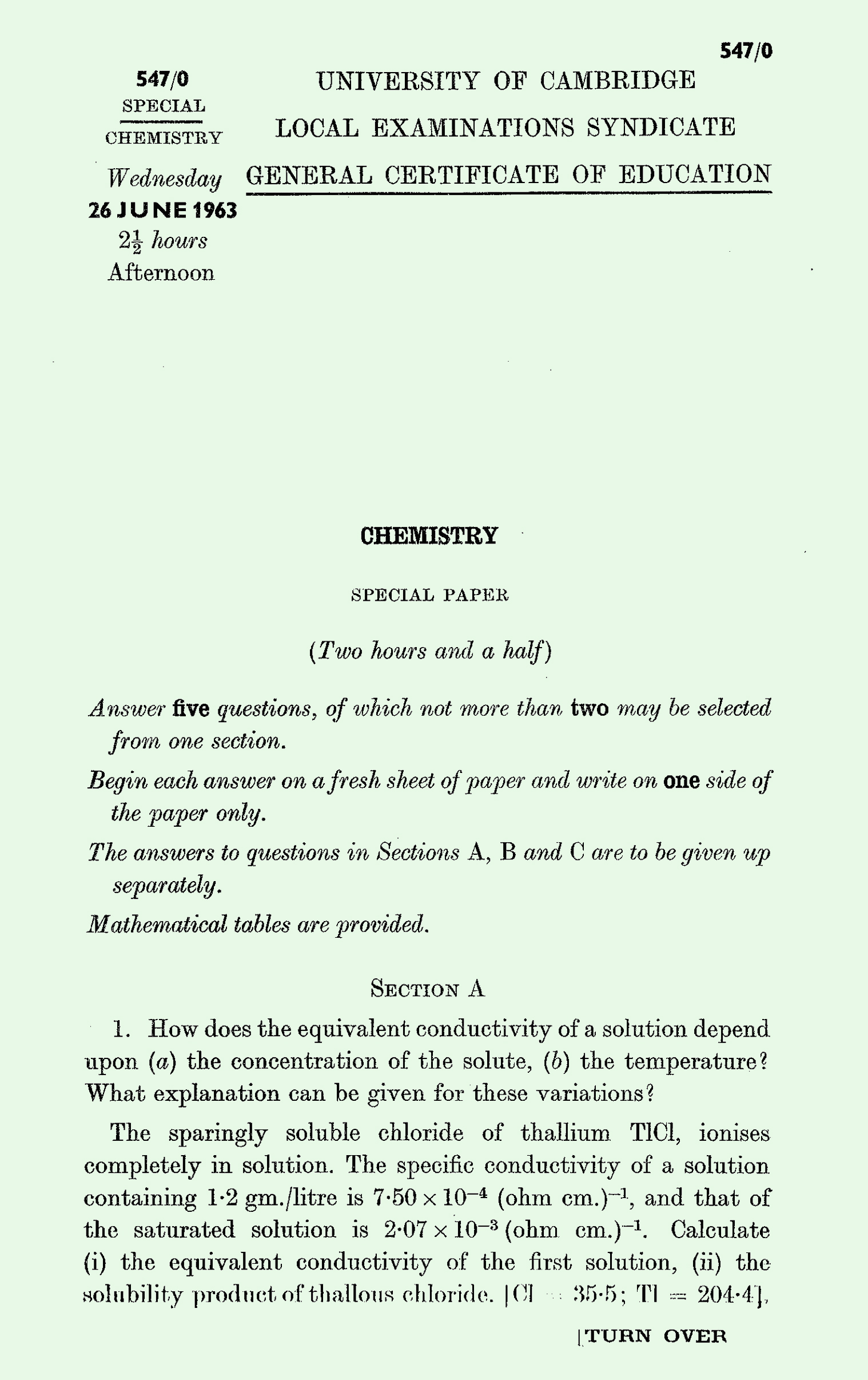 1963 S Level Chemistry page 1