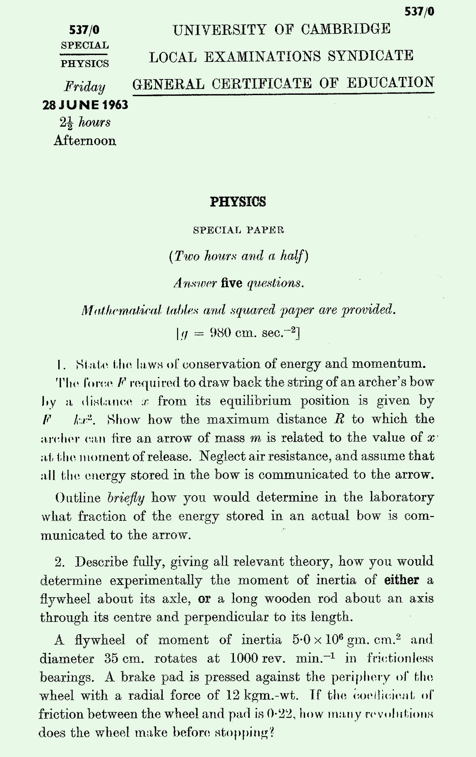 1963 S Level Physics page 1